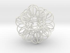 Annular Fractal Sphere in White Natural Versatile Plastic