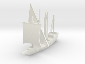 1/900 Round Caravel game piece in White Natural Versatile Plastic