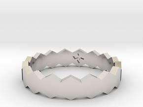 Hex Ringsaround Hexagon Geometric Ring Sizes 6-10 in Rhodium Plated Brass: 10 / 61.5