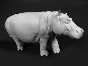 Hippopotamus 1:48 Walking Male in White Natural Versatile Plastic
