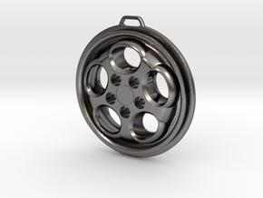 Porsche Phone Dial Wheel Keychain in Polished Nickel Steel