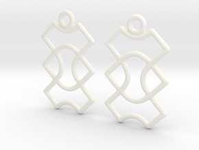 Celtic Weave Earrings - WE015 in White Processed Versatile Plastic