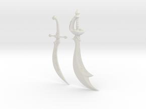 """""""BotW"""" Gerudo Ornate Scimitars in White Natural Versatile Plastic: 1:12"""