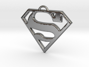 Superman Pendant Medium in Polished Silver