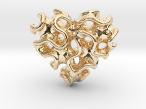 Gyro Heart Pendant in 14K Yellow Gold