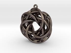Interlocked tori earrings in Polished Bronzed Silver Steel