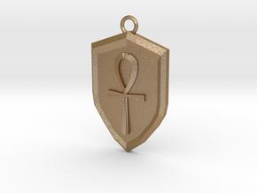 Order Shield Pendant in Matte Gold Steel