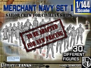 1/144 Merchant Navy Crew Set 1 in Transparent Acrylic