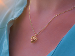 Heart Pendant Necklace in 14k Gold Plated Brass