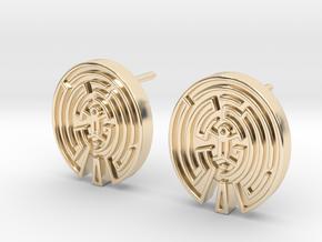 WestWorld Maze Earrings (studs) in 14K Yellow Gold
