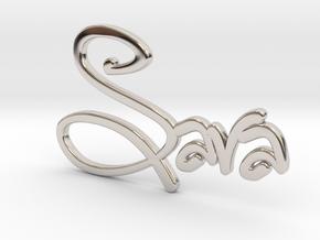 Names: Sara (customizable) in Rhodium Plated Brass