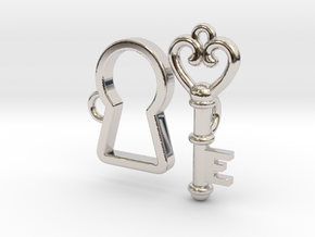 Lock and Key Toggle Clasp Charms in Rhodium Plated Brass