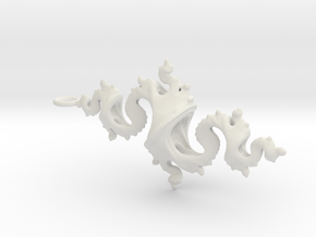 Dragon Pendant 6cm in White Natural Versatile Plastic