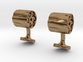 Revolver Cufflinks in Natural Brass