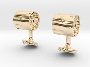 Revolver Cufflinks in 14k Gold Plated Brass
