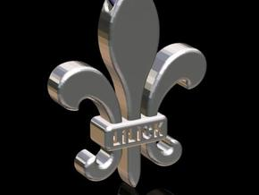 Fleur-de-Lis Pendant in Polished Gold Steel