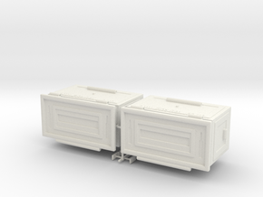 1/8 50 Cal Ammo Can Set of Two in White Natural Versatile Plastic