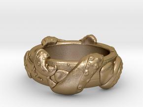 Kraken Ring in Polished Gold Steel