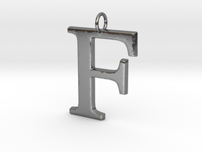 F Pendant in Polished Silver