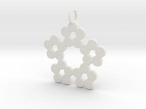 Circles Snowflake Pendant Charm in White Natural Versatile Plastic