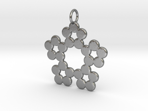 Circles Snowflake Pendant Charm in Natural Silver