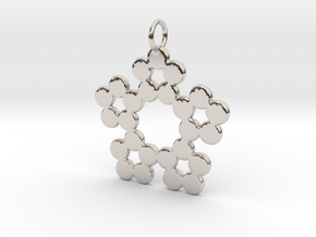 Circles Snowflake Pendant Charm in Rhodium Plated Brass