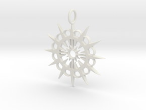 Abstract Patterned Circle Stylized Sun Pendant in White Natural Versatile Plastic