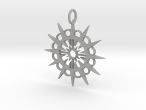 Abstract Patterned Circle Stylized Sun Pendant in Aluminum