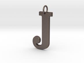 J Pendant in Polished Bronzed Silver Steel