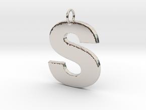 S Pendant in Rhodium Plated Brass