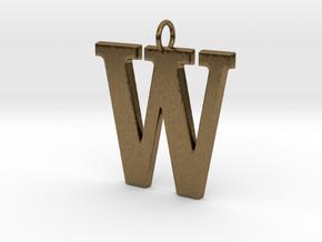 W Pendant in Natural Bronze
