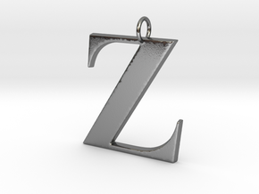 Z Pendant in Polished Silver