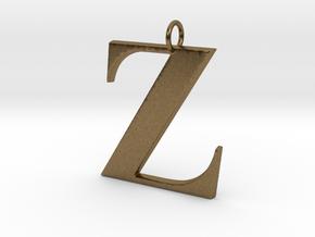 Z Pendant in Natural Bronze