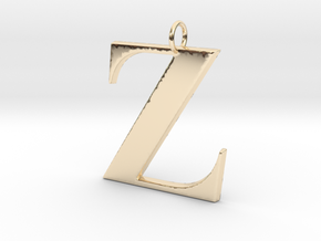 Z Pendant in 14k Gold Plated Brass