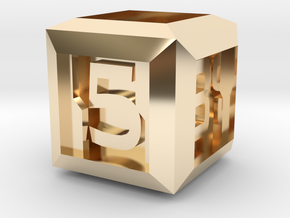 Sci-fi Crate D6 - 16mm die in 14K Yellow Gold