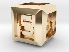 Sci-fi Crate D6 - 16mm die in 14k Gold Plated Brass