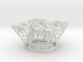 Koch Square Fractal in White Natural Versatile Plastic
