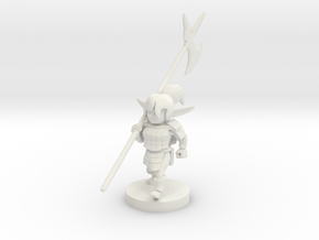 Gnome Female Fighter - Pike weilder in White Natural Versatile Plastic