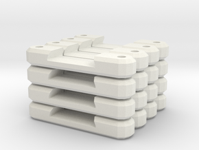 16 Single Flat Track Supports in White Natural Versatile Plastic