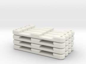 16 Double Flat Track Supports in White Natural Versatile Plastic