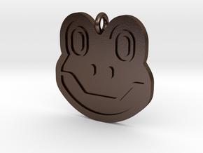 Frog Pendant in Polished Bronze Steel