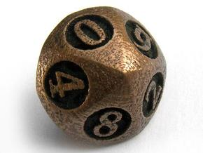 Overstuffed d10 in Polished Bronzed Silver Steel