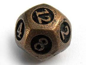 Overstuffed d12 in Polished Bronzed Silver Steel