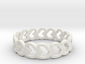 Heart Row Ring in White Natural Versatile Plastic: 6 / 51.5