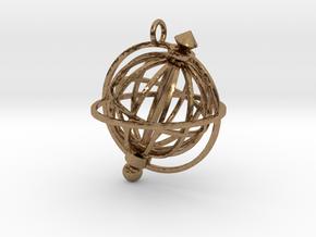 Spinning Globe Pendant in Natural Brass (Interlocking Parts): Medium