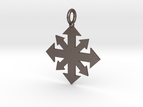Simple Chaos star pendant  in Polished Bronzed Silver Steel