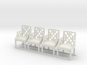 ArmChair 01. 1:24 Scale in White Natural Versatile Plastic
