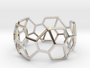 Catalan Bracelet - Pentagonal Hexecontahedron in Rhodium Plated Brass: Large