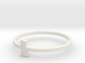 Plus Cross Sign Ring in White Natural Versatile Plastic: 6 / 51.5