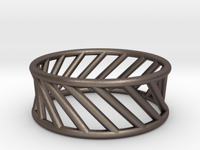 Hyperboloid Ring in Polished Bronzed Silver Steel: 12 / 66.5